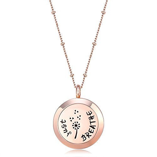 Mesinya Rose Gold Color Just Breathe Aromatherapy / Essential Oils surgical S.Steel Diffuser Locket pendant Necklace (32inch Ball Station Chain)