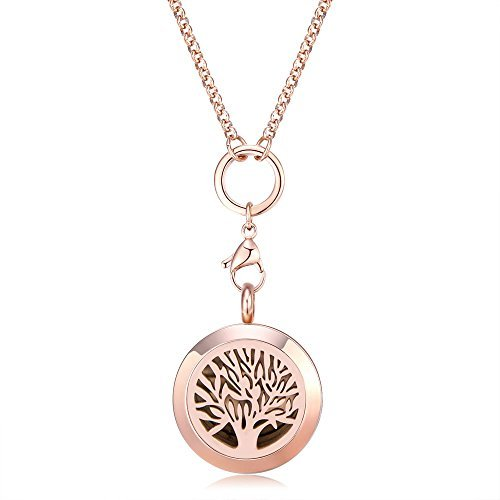 Mesinya Rose Gold Tree of Life Aromatherapy / Essential Oils surgical S.Steel Diffuser Locket pendant Necklace (32inch chain) (size:1'' locket)