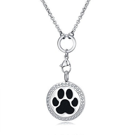 MESINYA Essential Oil Diffuser Necklace Aroma Locket Pendant With 24'' Chain&Pads (dog Paw)