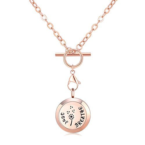 Mesinya Rose Gold Color Just Breathe Aromatherapy / Essential Oils surgical S.Steel Diffuser Locket pendant Necklace (24inch Toggle Chain)