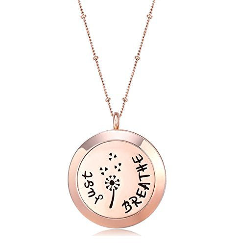 MESINYA Rose Gold Color Just Breathe Aromatherapy/Essential Oils surgical S.Steel Diffuser Locket pendant Necklace (30mm locket W/32'' Ball station Chain)