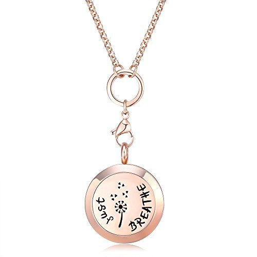 Mesinya Rose Gold Color Just Breathe Aromatherapy / Essential Oils surgical S.Steel Diffuser Locket pendant Necklace (32inch chain)