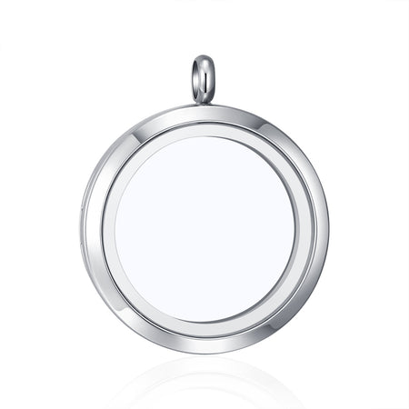 Mesinya Round 316L Stainless Steel 30mm Glass locket Bangle Living Floating Charm Locket Bracelet for 8'' wrist