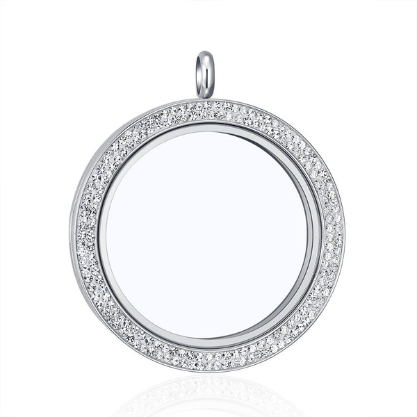 Mesinya 39mm Crystal accent Floating Charm Glass Locket