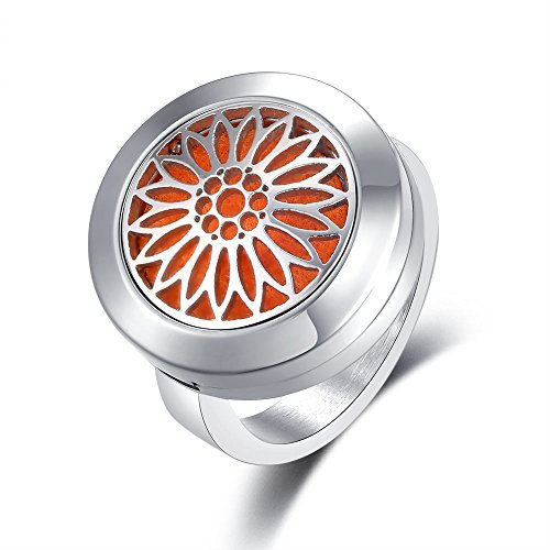 Mesinya Sunflowers Aromatherapy Ring/ 316L s.steel Essential Oils Diffuser Locket Ring