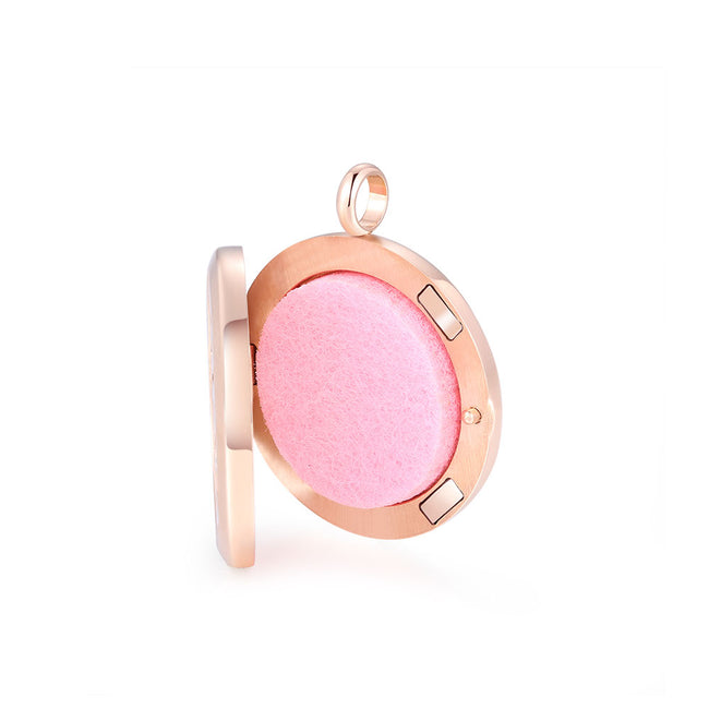 Mesinya Rose Gold Color Just Breathe Aromatherapy / Essential Oils surgical S.Steel Diffuser Locket pendant Necklace (30mm locket W/24'' Flat Oval Chain)