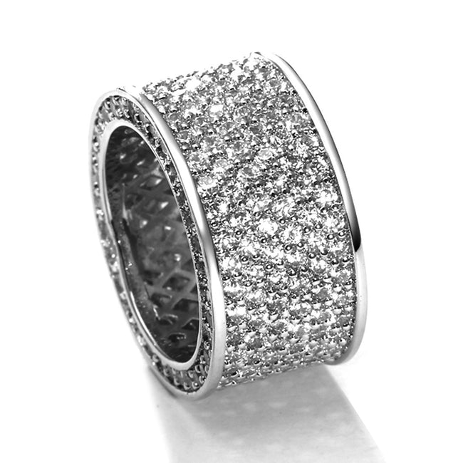 Mesinya silver color Hip Hop Pave clear CZ Eternity Band ring