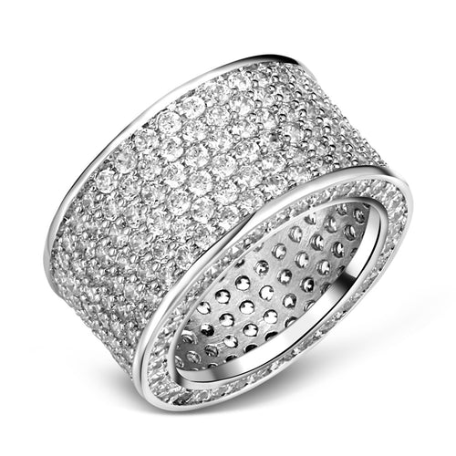 Copy of Mesinya silver color Hip Hop Woman Man Pave clear Cubic Zirconia CZ Eternity Band ring