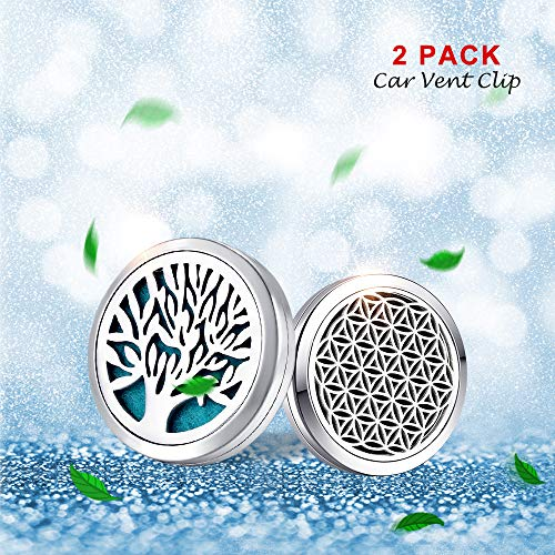 MESINYA 2PCS 30mm Car Diffuser Vent Clip Aromatherapy Essential Oil Stainless Steel Diffuser Locket - Tree of Life, Seed of Life, 14pcs Felt Pads