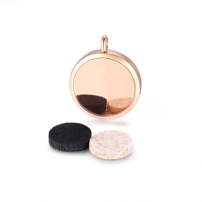 Rose Gold Just Breathe Essential Oils Diffuser Locket pendant Necklace (18inch Chain)