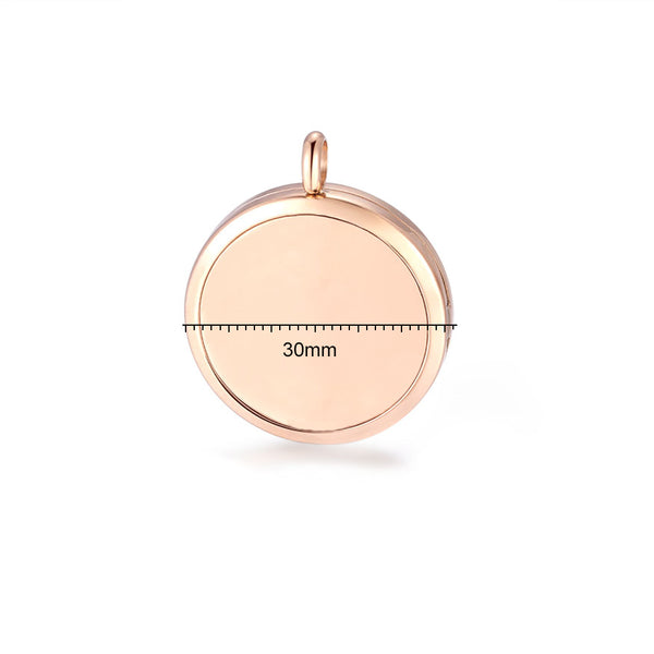 Mesinya 2PCS 30mm Rose Gold Aromatherapy Essential Oil Diffuser Necklace Locket, Stainless Steel Perfume Jewelry Pendant with 2 Chains and 14 Felt Pads Gift Set