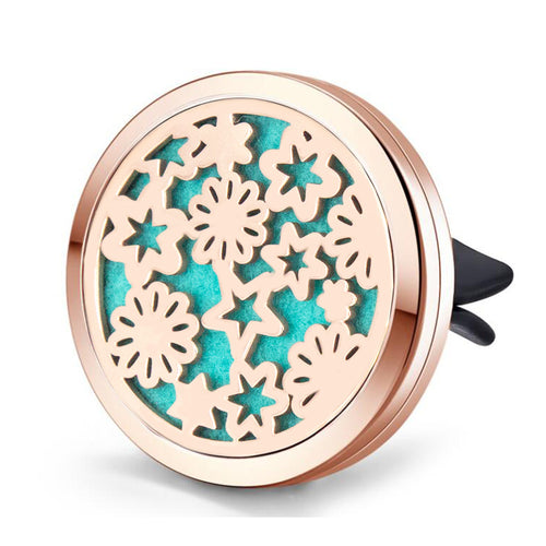 Mesinya Rose Gold color Garden(38mm) Car Air Freshener Vent Clip Diffuser Stainless Steel Aromatherapy Essential Oils Diffuser Lockets (Style 5)