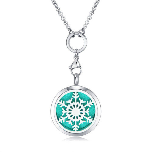 Mesinya snowflake Essential Oils Diffuser Locket Necklace