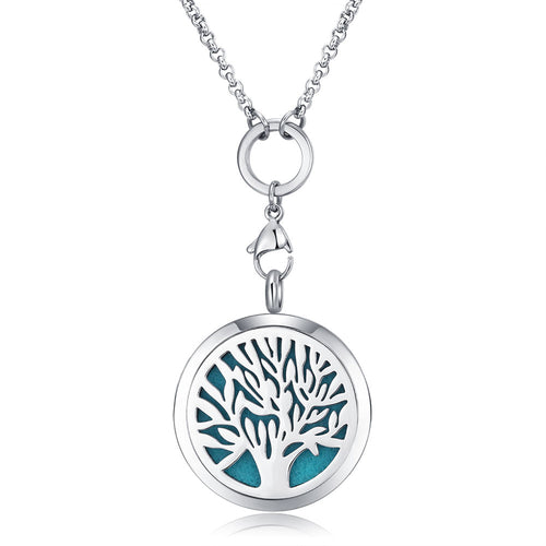 Mesinya tree of life Aromatherapy / 316L s.steel Essential Oils Diffuser Locket Necklace