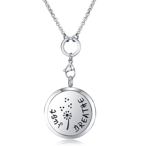 Mesinya Just Breathe Essential Oil Diffuser Necklace Stainless Steel Locket Pendant
