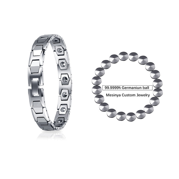 Mesinya Tungsten Magnetic Therapy Bracelet Germanium Ball Link, Radiation Protection, Pain Relief for Arthritis, Migraine, Anti-Aging Jewelry