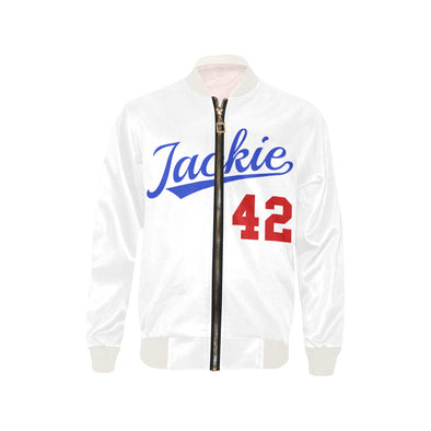 Jackie Robinson, White - Youth Bomber Jacket