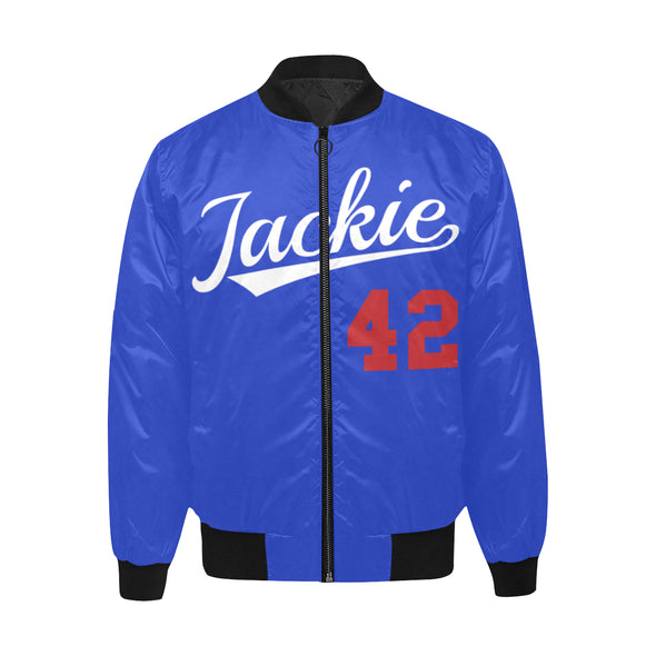 Jackie Robinson, Blue - Quilted Bomber Jacket