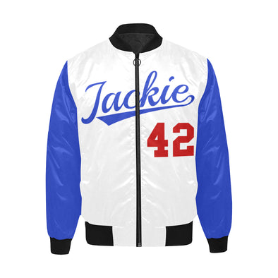 Jackie Robinson, Blue and White - Quilted Bomber Jacket