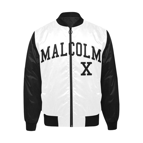 Malcolm X, Black and White - Quilted Bomber Jacket