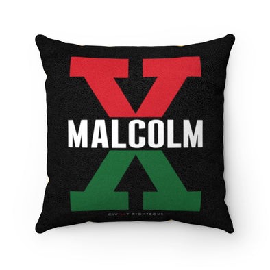 Malcolm X, Red and Green Split - Faux Suede Pillow