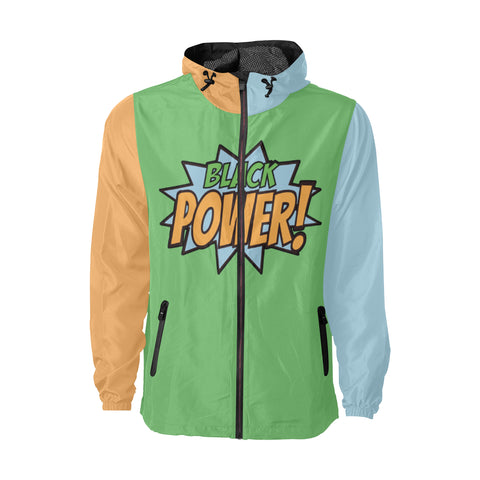 Black Power! - Green, Orange, and Light Blue - Windbreaker