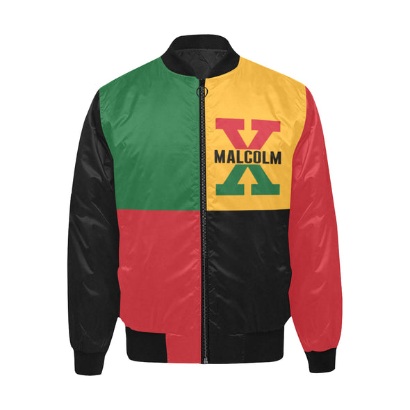 Malcolm X, 4 Square - Quilted Bomber Jacket
