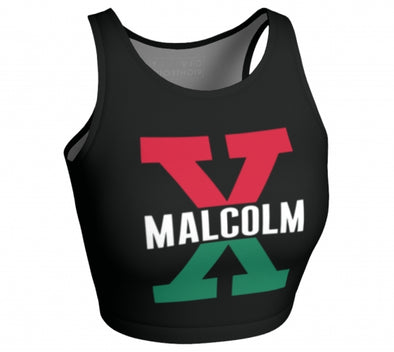 Malcolm X, Red and Green - Sleeveless Crop Top