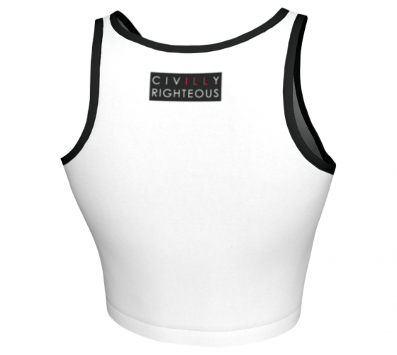 R.A.R.E., White with Black Trim - Sleeveless Crop Top