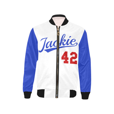 Jackie Robinson, Blue and White - Youth Bomber Jacket