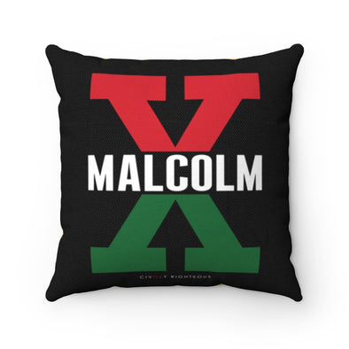 Malcolm X, Red and Green Split - Spun Polyester Pillow
