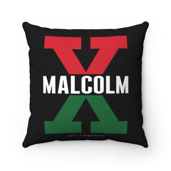 Malcolm X, Red and Green Split - Spun Polyester Pillow Case