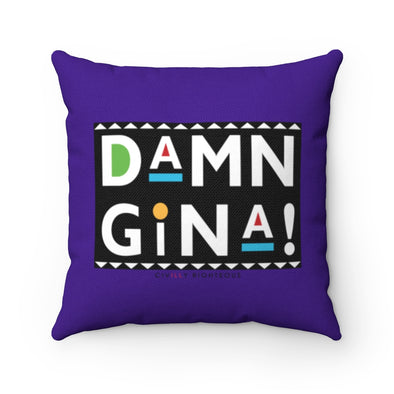 Damn Gina!, Purple - Spun Polyester Pillow