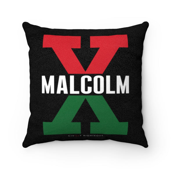 Malcolm X, Red and Green - Faux Suede Pillow