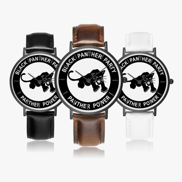 Black Panther Party - Leather Strap Quartz Watch