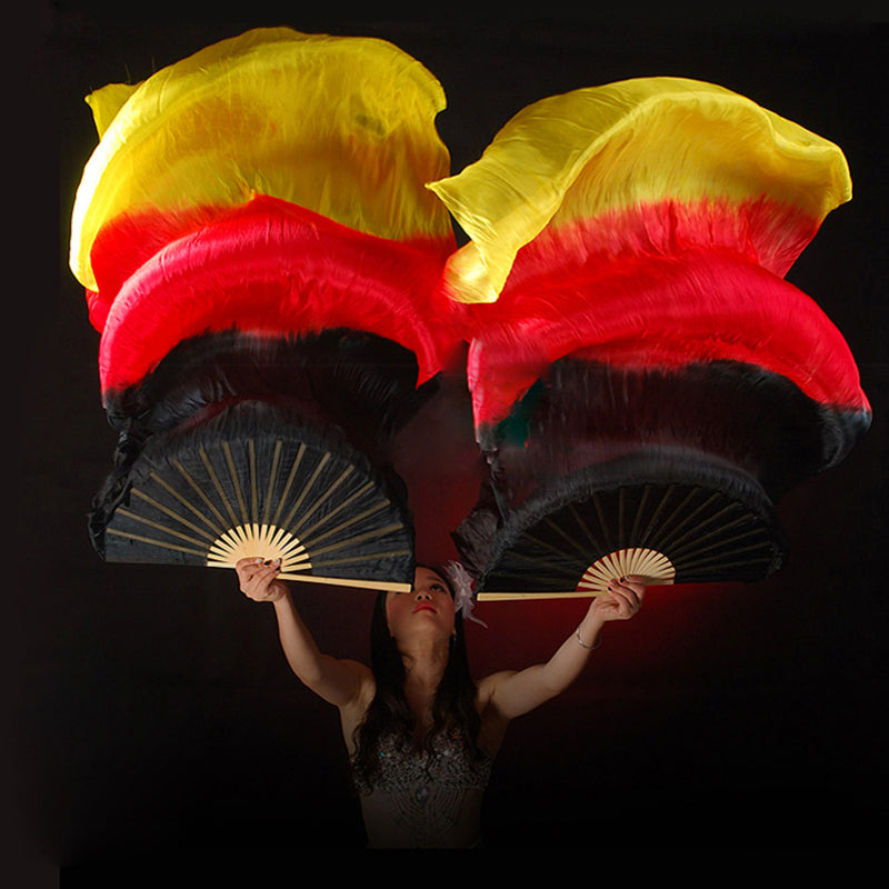 fb8e3b70c New 1.5/1.8m Belly Dance Chinese Real Silk Fan Veils Black+Red+