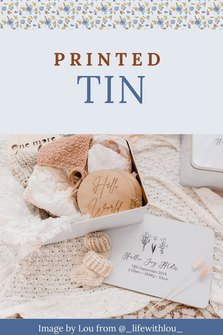Printed tin keepsake box by tleaf collections