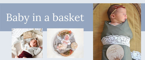 Baby newborn photos in a basket