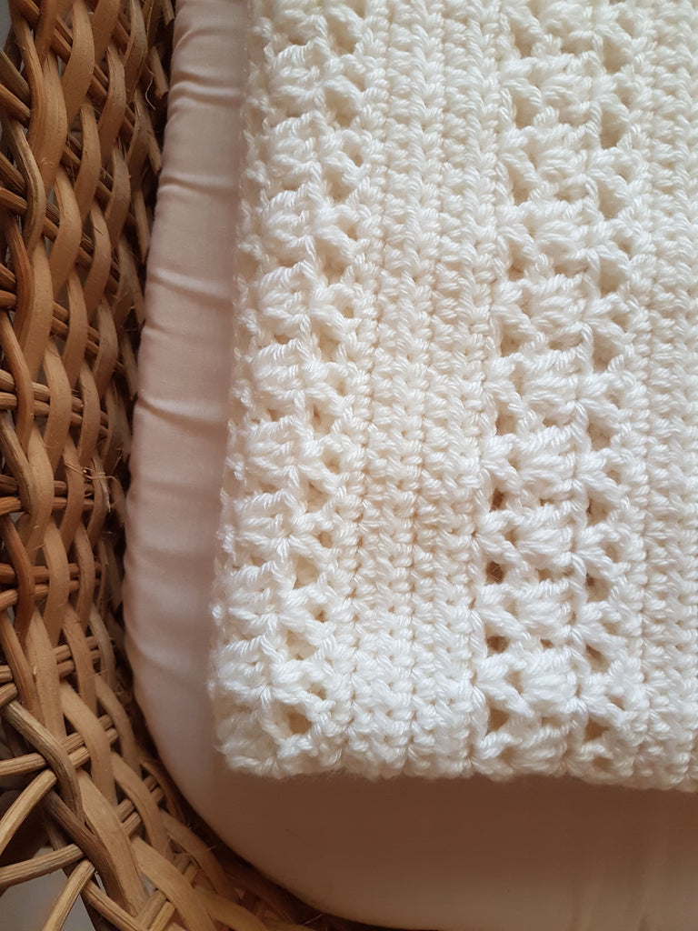 Pearl White Crocheted Blanket