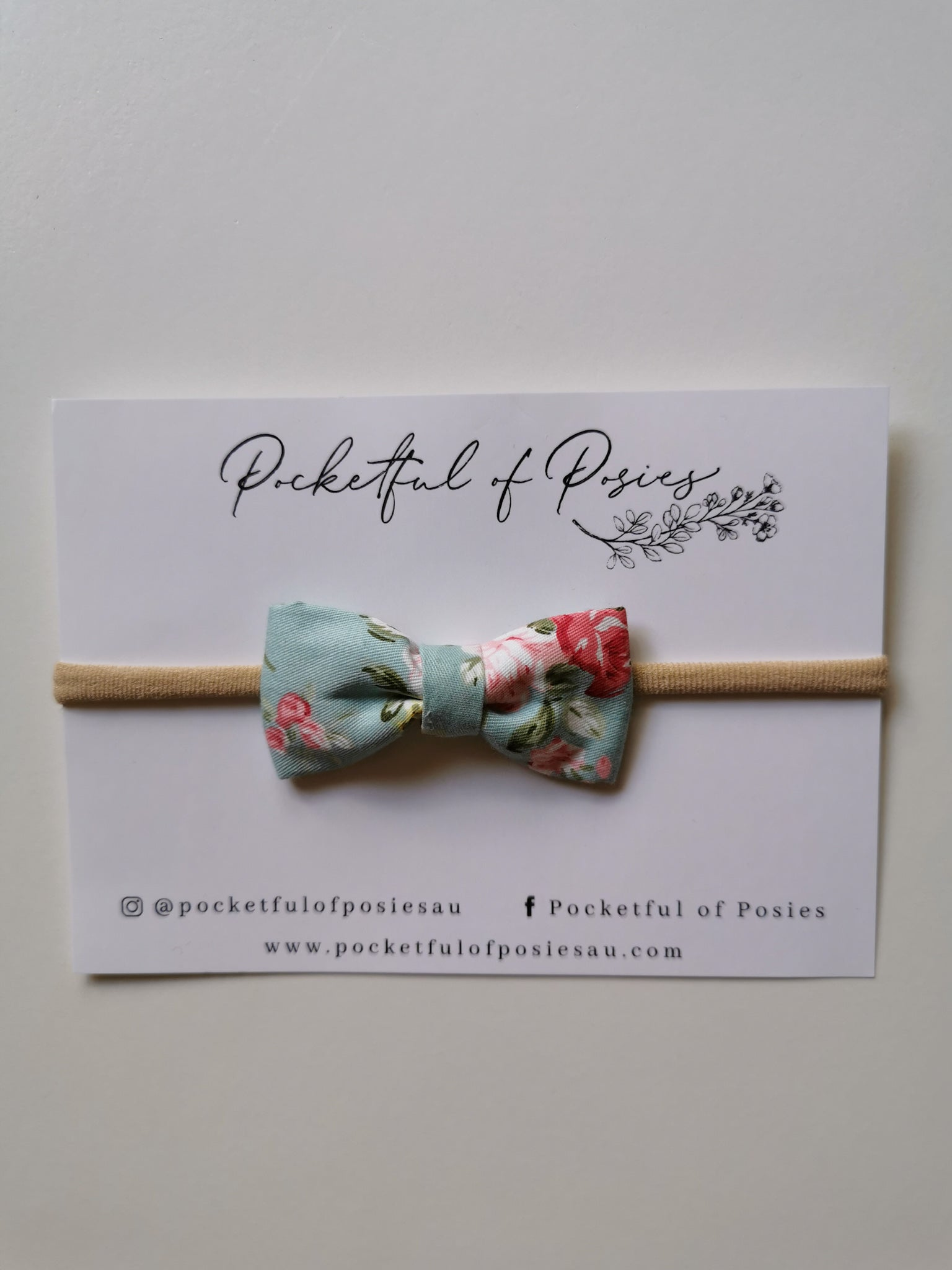 Spring Blue Floral Bow