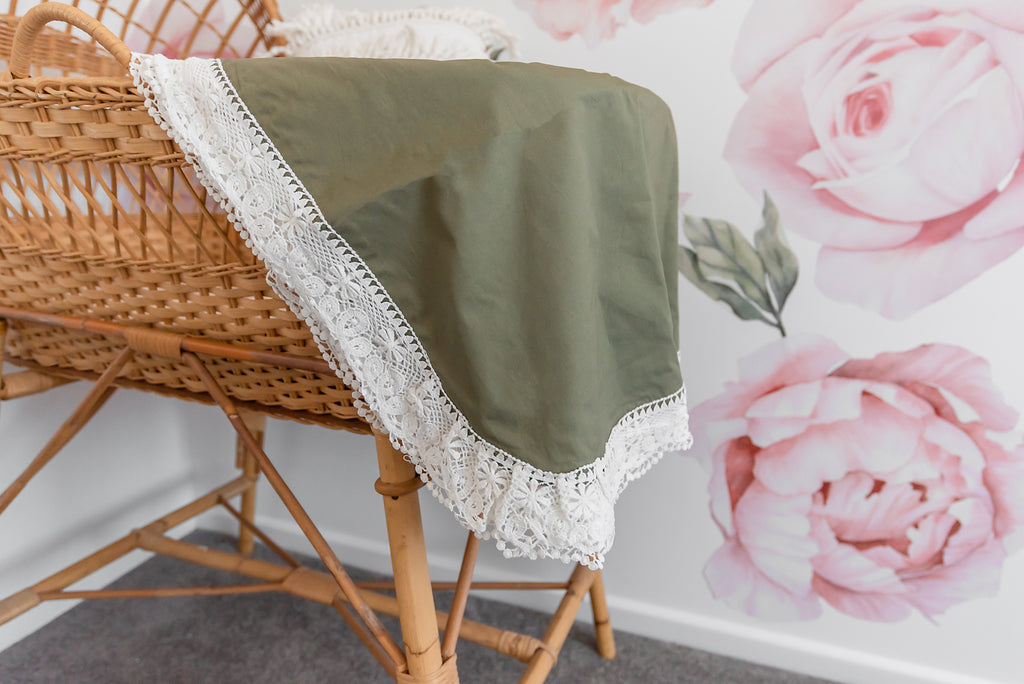 Olive – Heritage Blankets The perfect gender neutral baby wrap. cuddle your little baby boy or girl in this lace trim blanket. 100% cotton and an extra large size makes this blanket the perfect everyday essential that is not only practical but unique and beautiful. A pram blanket, nursery statement piece, tummy time mat, breastfeeding cover or milestone picture blanket.