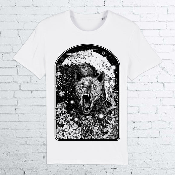 BHS ANGRY WOLF ORGANIC COTTON UNISEX WHITE T-SHIRT