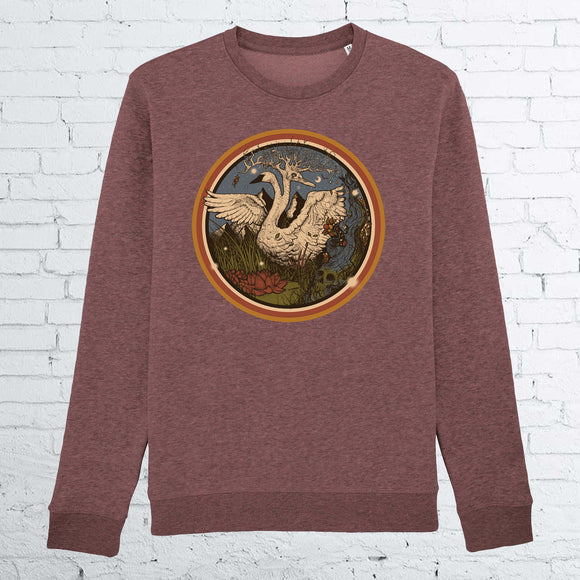 SWANS UNISEX HEATHER CRANBERRY CREWNECK