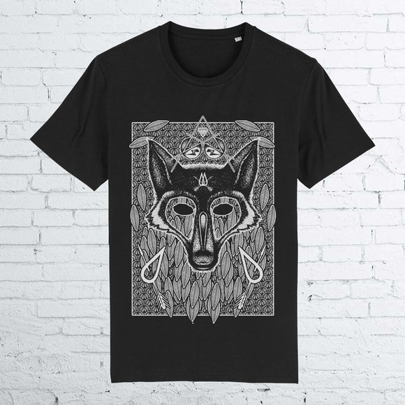 BHS WOLF ORGANIC COTTON UNISEX BLACK T-SHIRT