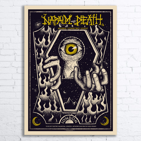 NAPALM DEATH Limited Edition Screen Printed Poster 2017