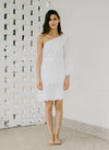 SPIRITED TOGA EYELET DRESS (WHITE)