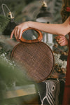 MALIKA LARGE ROUND WEAVE BAG (BROWN)