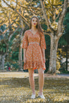 ESTELLE RUFFLED FLORAL DRESS (BURNT ORANGE)
