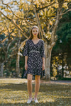 ESTELLE RUFFLED FLORAL DRESS (NAVY)