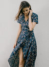 WANDER FLORAL WRAP DRESS (NAVY)